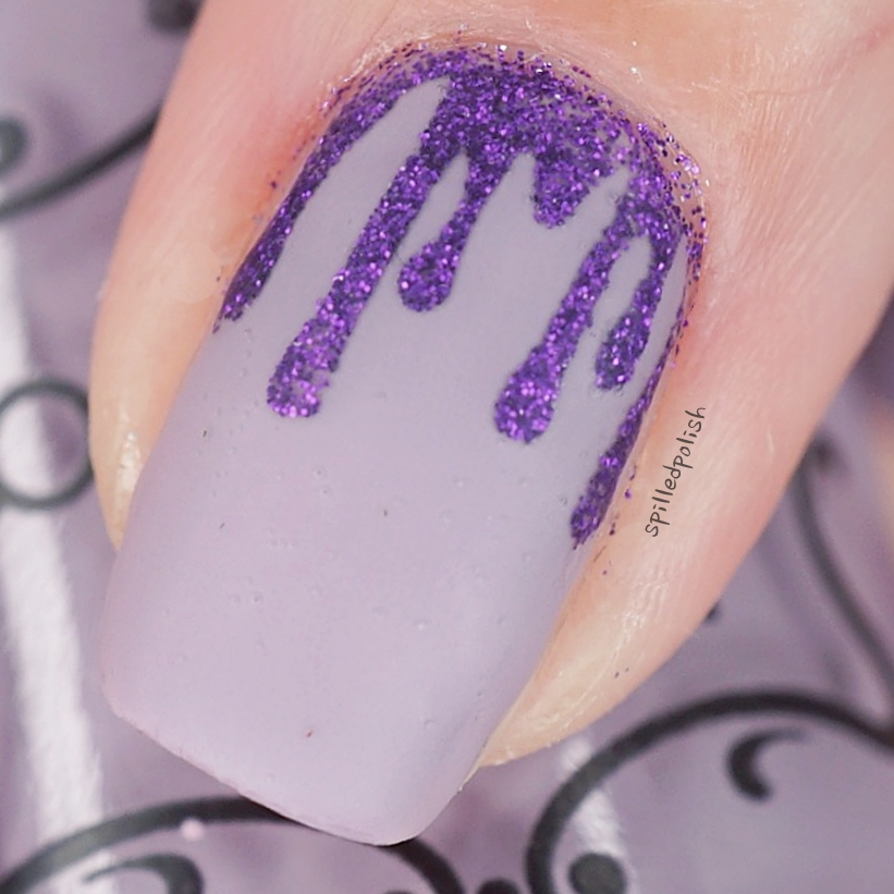 Purple Glitter Blood Drip Nails