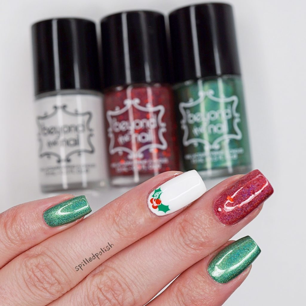 Simple Christmas Holly Nails