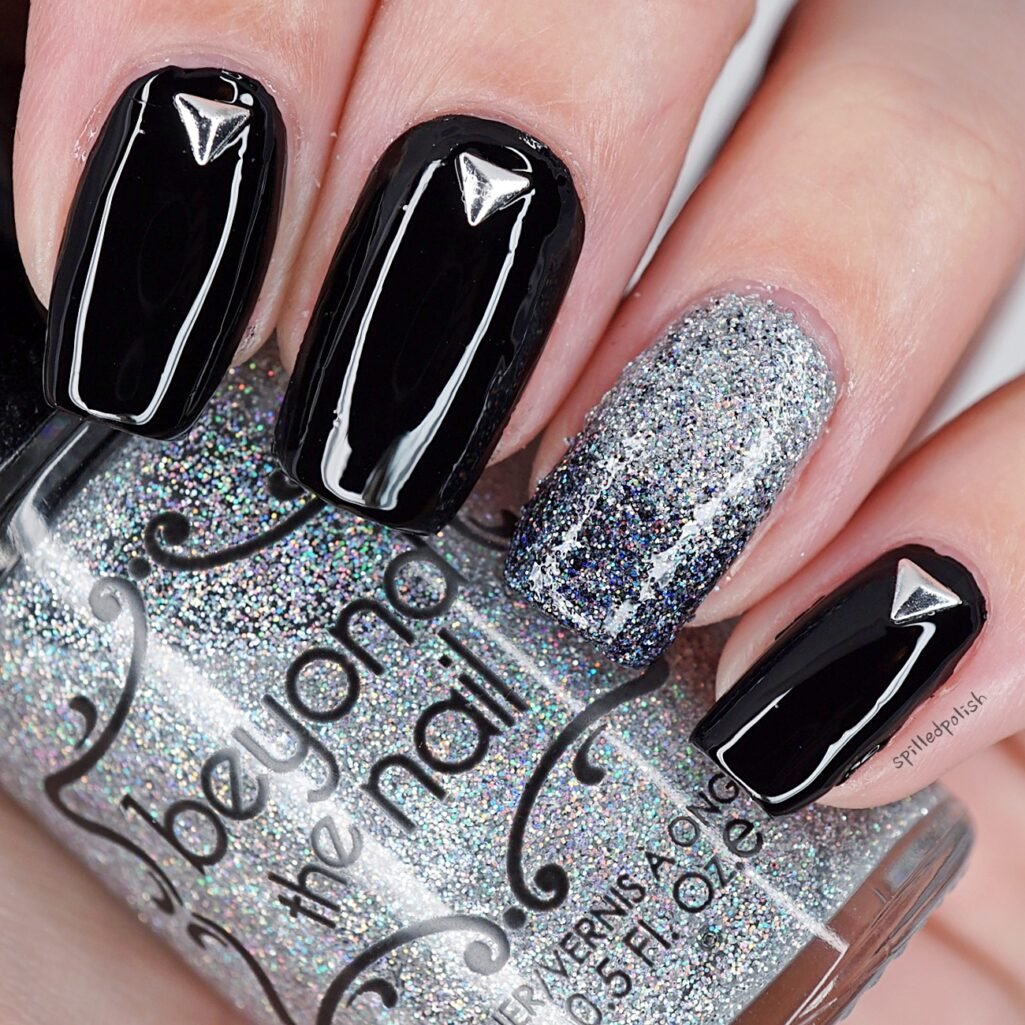 Black and Silver New Years Nails - Spilledpolish