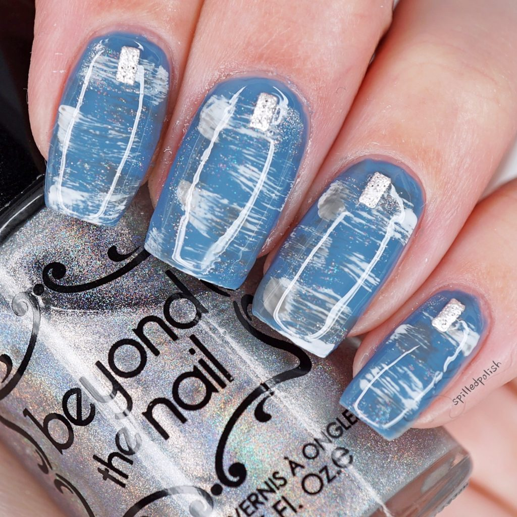 Blue Dry Brushed Nails