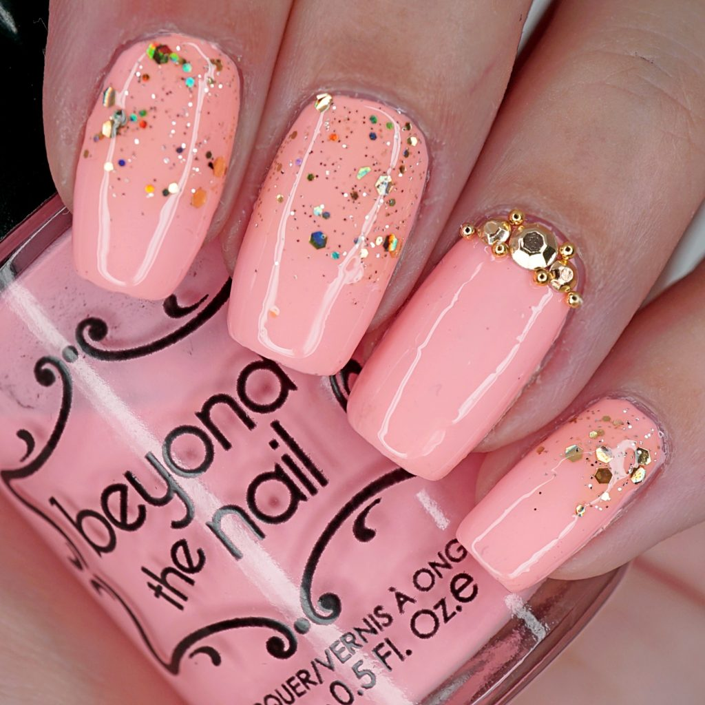 Neon Coral and Gold Nails