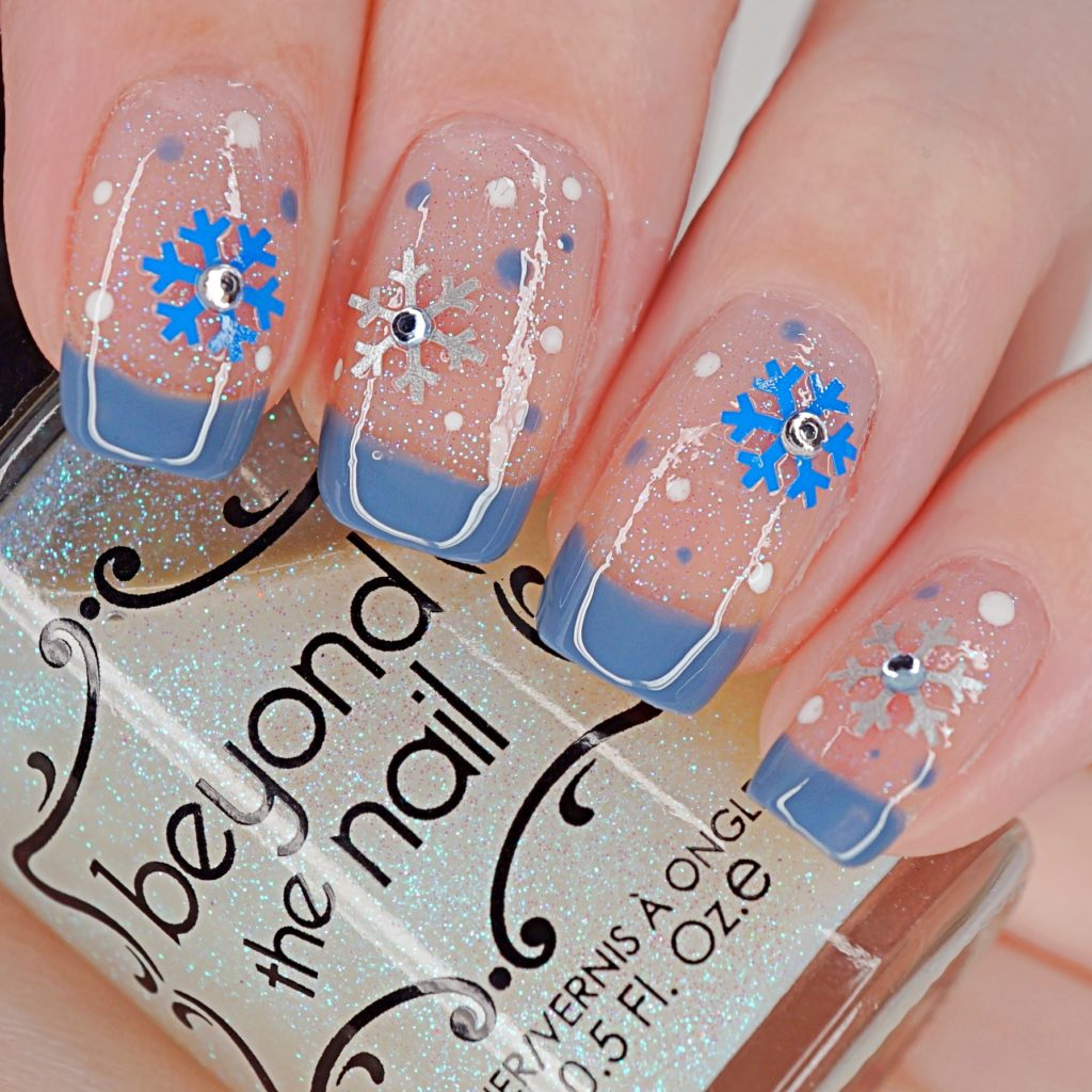 Sparkly Blue Snowflake Nails